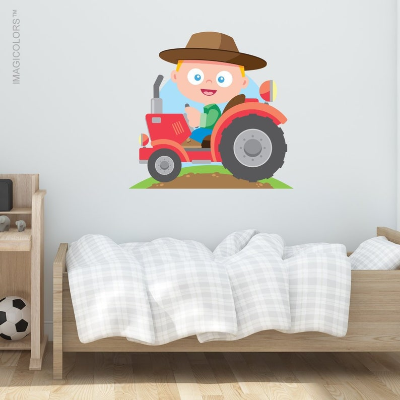 Removable Wall Decal Tractor Kids Wallpaper Fabric Wall Decal Farm Theme
