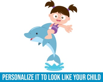 Dolphin Girl   Fabric Wall Decal   Kids Wallpaper   Ocean Wall Decal   Under the Sea Decor