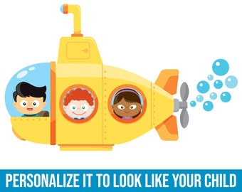 Yellow Submarine   Fabric Wall Decal   Kids Wallpaper   Ocean Wall Decal   Under the Sea Decor