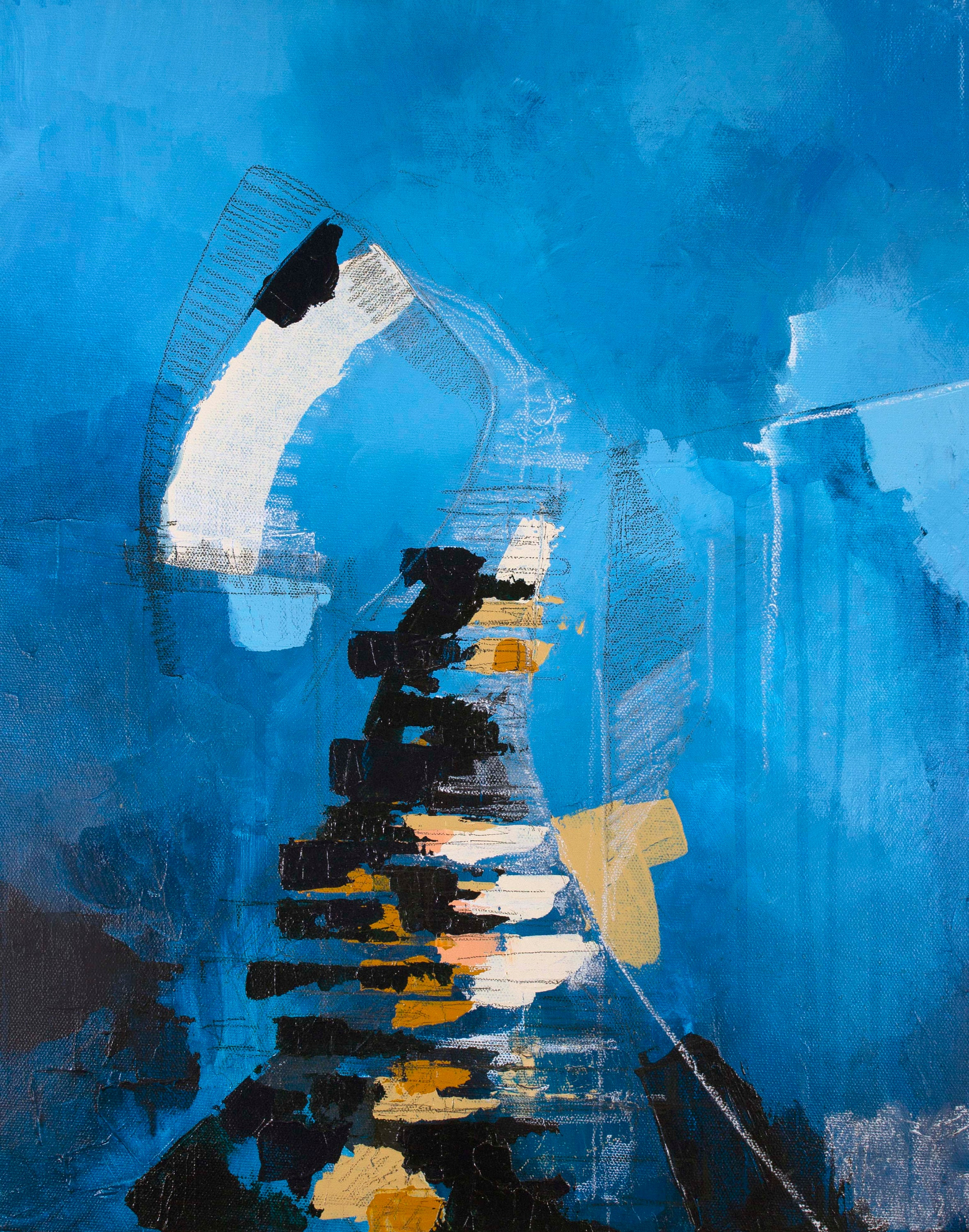 Abstract Landscape Painting of Stairs in Santorini, Greece ...