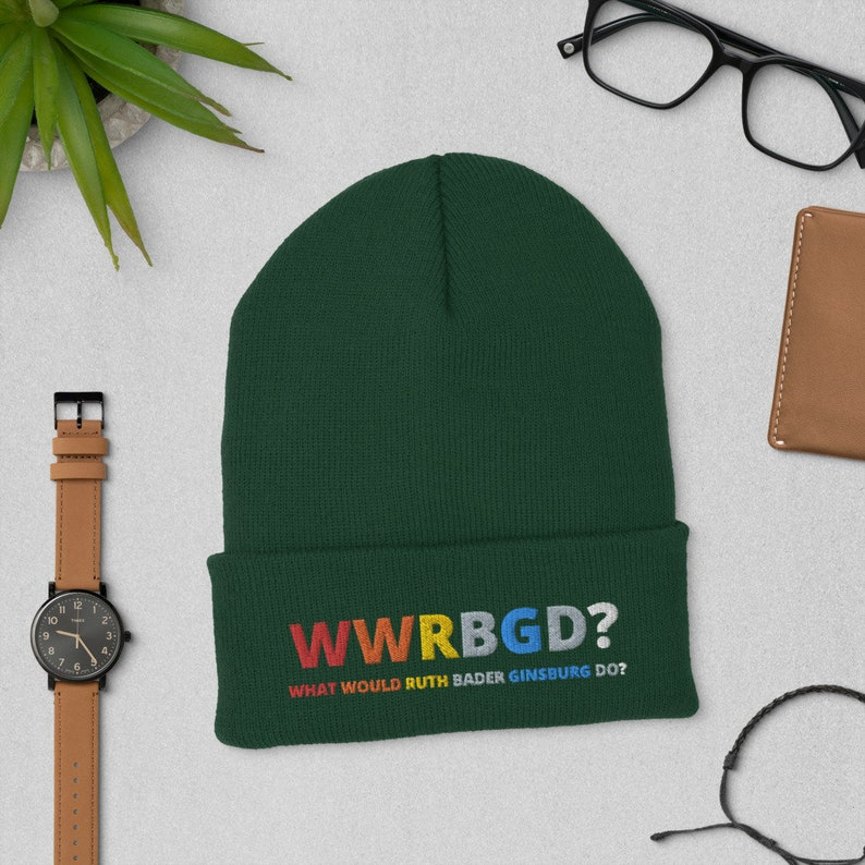 Retro rbg hat Ruth Bader Ginsburg hat Notorious rbg I dissent rbg fan gift WWRBGD? What Would Ruth Bader Ginsburg do? Cuffed Beanie hat