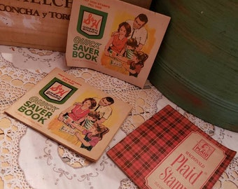 Scrapbook Embellishment 1 Vintage Macdonald Red Plaid Stamp Saver Book Booklet PL1 Free Shipping Junk Journal Ephemera