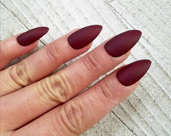 Maroon Nails Etsy