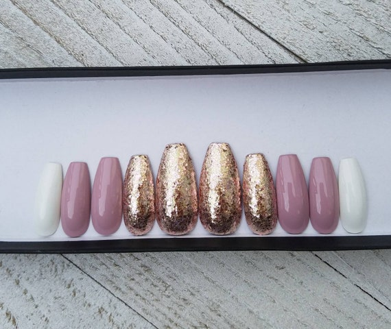 Rose Gold chunky glitter/Mauve/White nails, long coffin shape  Fake nails,  press on nails, faux nails, pink nails  Matte or glossy finish