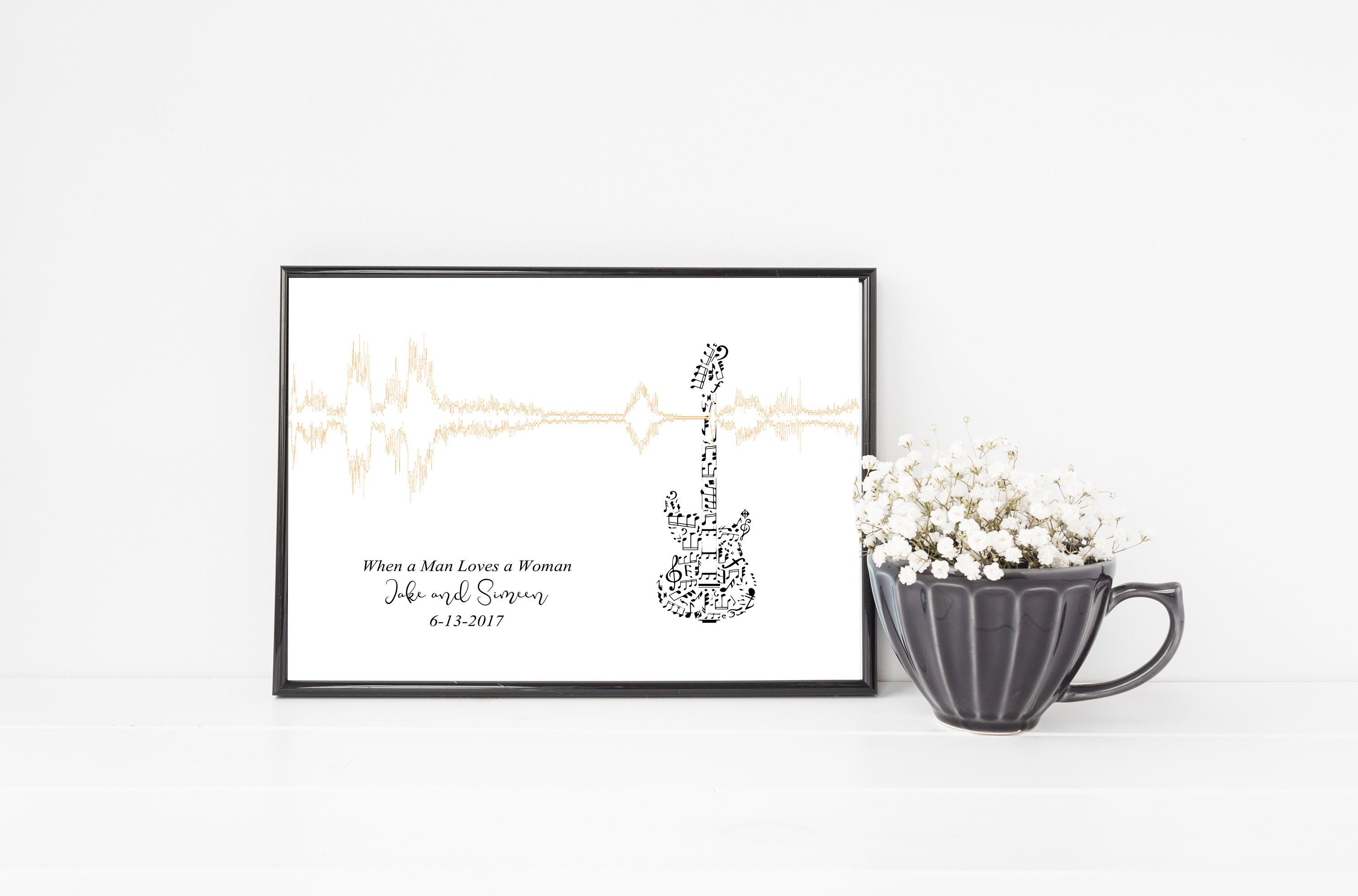 Gift - Guitar Sound Wave Art - Custom Personalized unique gift