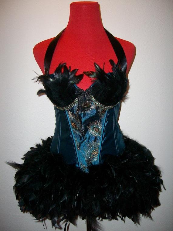 Black peacock Burlesque Showgirl fairy corset feather costume dress