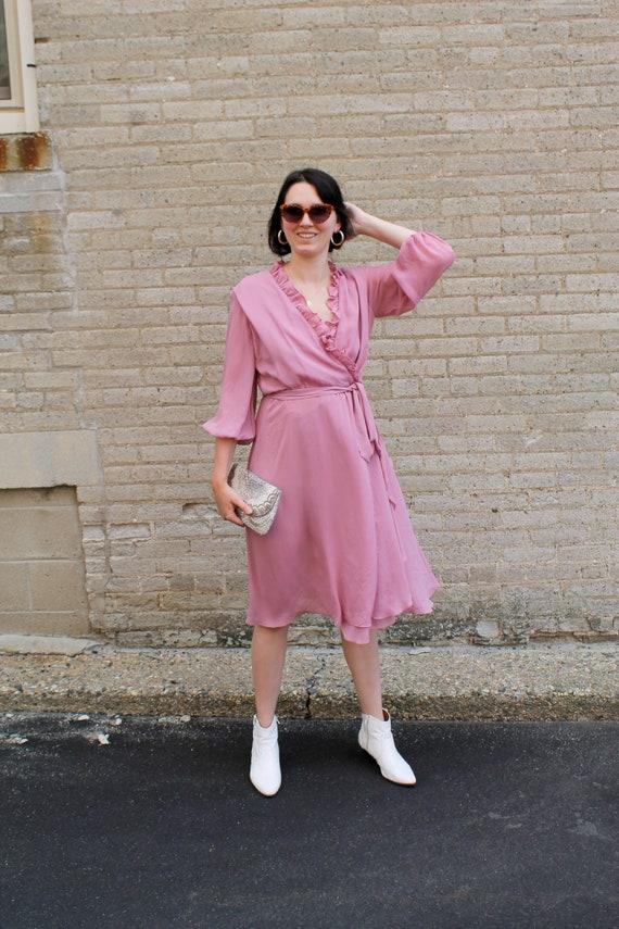 Vintage Dress/ Midi Dress/ Lilac Dress/ Vintage W… - image 1