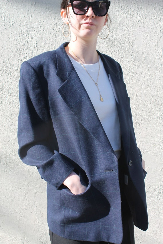 Vintage Blazer/ 90s Fashion/ Oversized/ Navy Blaze