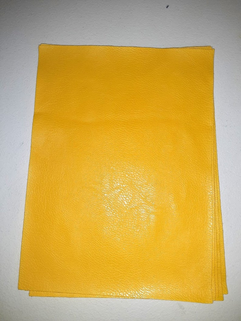 Vegan Leather Yellow Textured Faux Leather Sheet Full Size