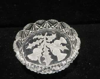 Antique cut glass Tuthill crystal bud vase 11.25 high long stemmed leaffloral etched scallop 1 inch diameter scalloped opening