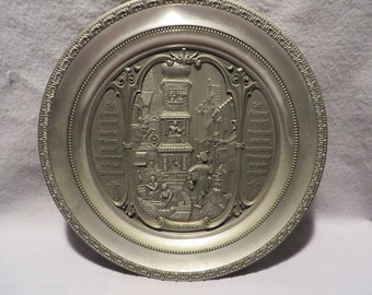 Letter Messenger Vintage WMF Zinn German Pewter 10 Decorative High Relief Wall Plate