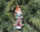 Vintage Christopher Radko Petite Emerald Santa Christmas Ornament