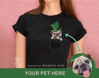 8814c8202 ST PATRICK DAY Dog Lover Funny Shirt. Unisex Cat Lover Saint Patrick gift  for Her. Custom Pug Duchshund Patricks t-shirts for Men Women