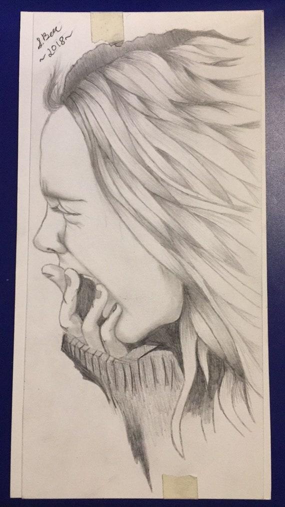 Croquis De Dessin Au Crayon Graphite Portrait De Femme Hurler Etsy