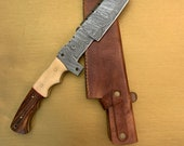 Hand Made 13 Inch Damascus Steel Tanto Hunting Knife With ROSE Wood And Bone Handle
