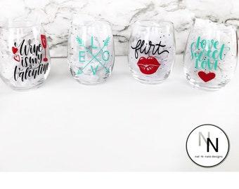 Valentine Wine Glass Etsy
