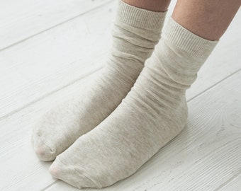 Thin Breathable Organic Linen Socks for Women Pack of 3 pairs