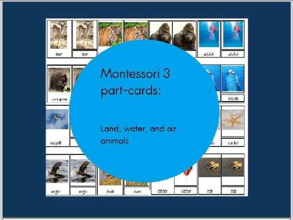 3-Part montessori cards: Land, water, and air animals