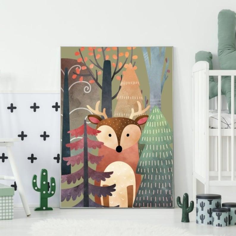 Obrazek Jelonek W Lesie Plakaty Na ścianę Obrazki Pokój Dziecka Plakat Dziecięcy Dodatki Dekoracje ściany Dla Chłopca Dla Dziewczynki Poster