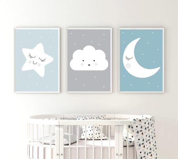 Plakaty Do Dziecięcego Pokoju Chmurka Księżyc Gwiazdka Druk Bezpieczny żywe Kolory Tryptyk Do Pokoju Dziecka