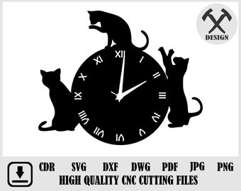 Cats wall clock,Cats svg,Cats wall decor,Cats wall art,Gift with cats,I love cats,Laser cut files,Clock svg,Dxf files for laser WCM-135