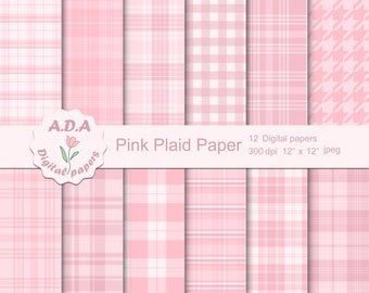 A4 8.5 x 11 Plaid in Pink and Red Shades PUCU Commercial Use Digital Printable Scrapbook Craft Paper