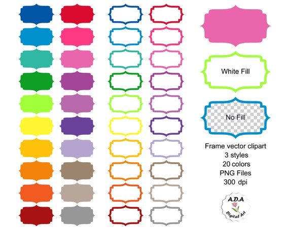 Frame label vector clipart, Scrapbooking frame Clip Art, Bright colored  frame clipart, Fancy frame stickers, Commercial Use