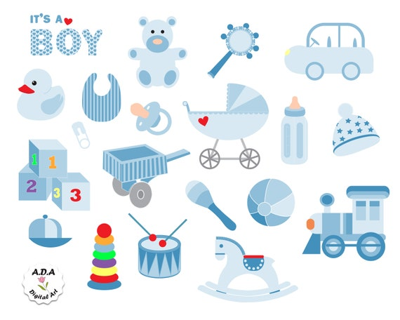 Blue Baby Clipart It S A Boy Baby Shower Invitation Etsy