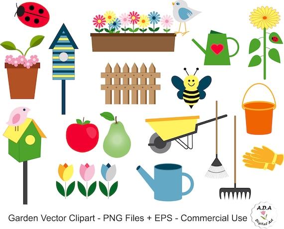 Clipart Jardin Jardin Vector Clip Art Fleur Vector Clipart Etsy