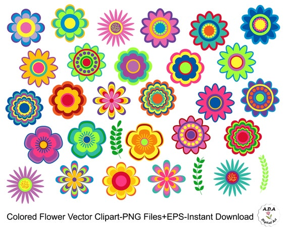 Colored Flower vector Clipart, Flower Clip Art, Flower vector clipart,  Floral vector clip art, Scrapbooking cute clipart, Commercial Use