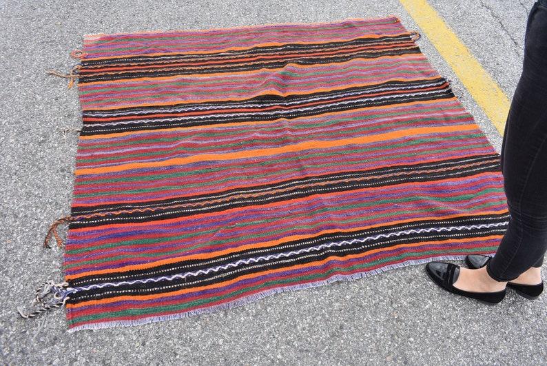 striped kilim rug turkish kilim 5.4 x 5.1 ft rustic decor area kilim rug embroidered kilim rug vintage kilim rugs floor kilim rug  Cod296