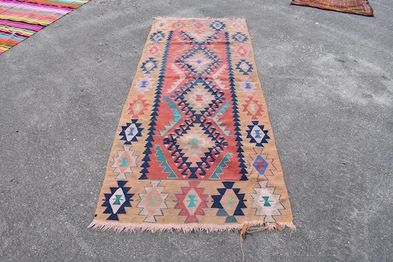 runner carpet Bathmat. 2.9 x 1.5 feet,Turkish Orange Area Rug Carpet bohemian rug Doormat 2,9 x 1,5 ft Vintage kilim rug carpet