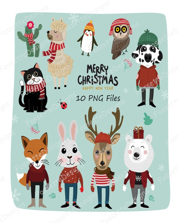 Merry christmas animals stickers planner clipart , 300 DPI, stickers for  GoodNotes, Vector,PNG
