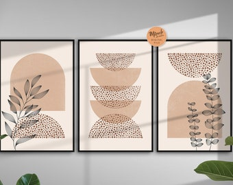 Abstract art set of 3, Mid century  modern art Gallery wall bundle, Set of three prints, Boho print wall art, Boho art set, Geometric print