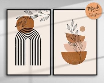 Boho art set of 2 prints, boho wall art, printable wall art, minimal botanical print, home decor