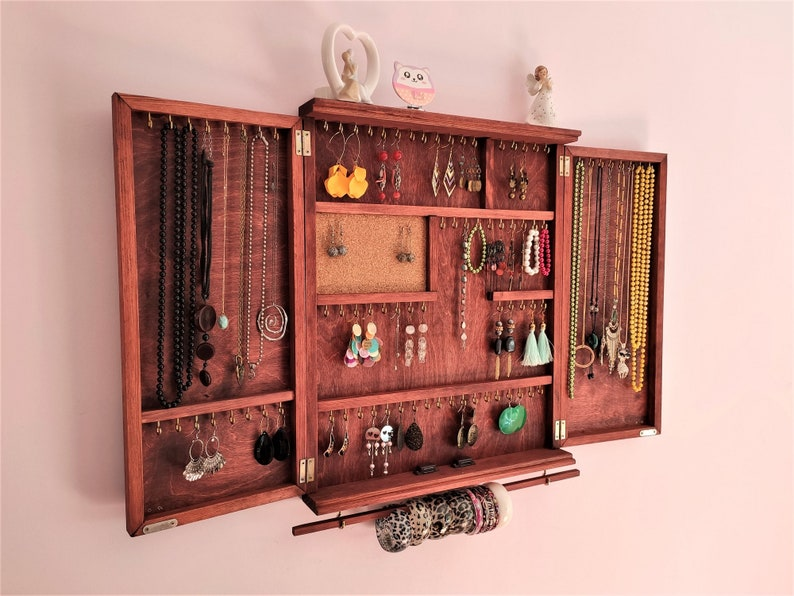 Display Storage Large Jewelry Cabinet Stand Earring Organizer Cherry Coral Finish Wooden Free Monogram Personalization