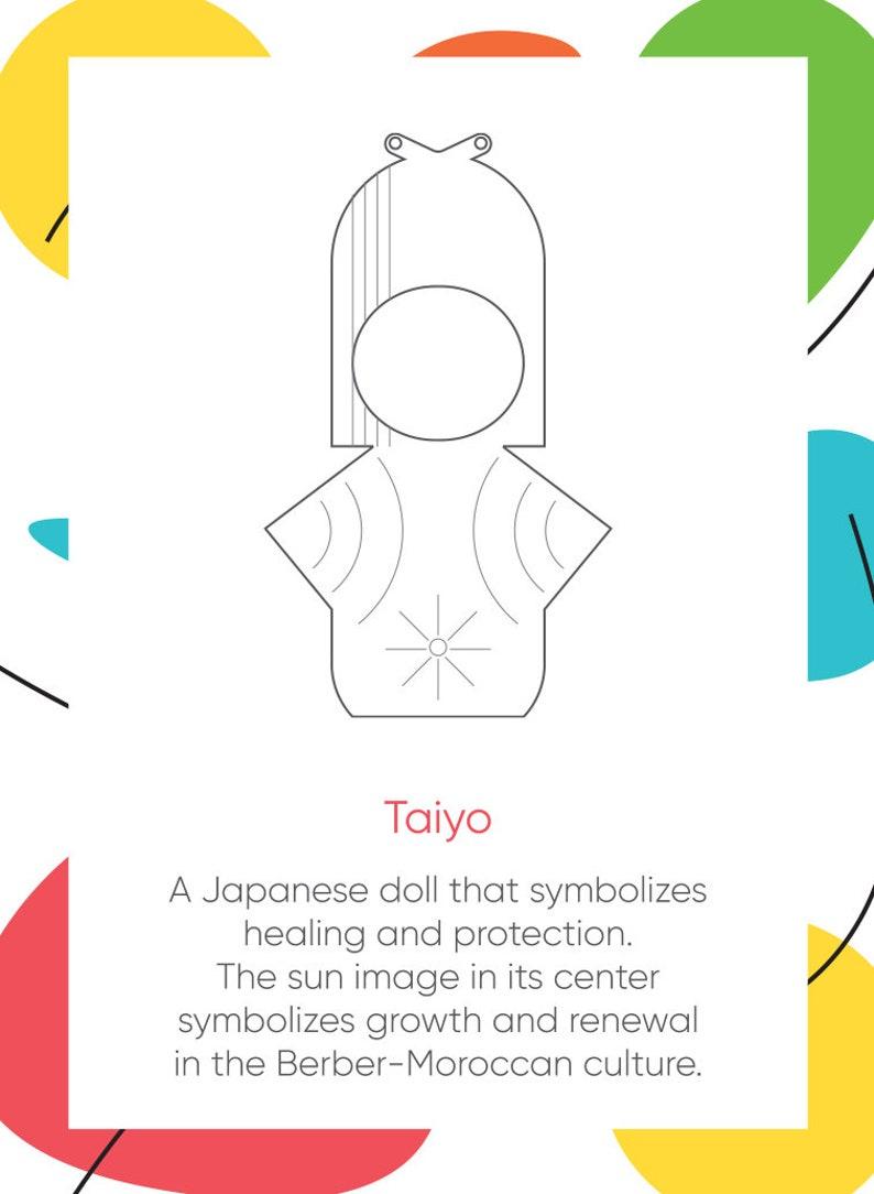 Taiyo Necklace japanese doll Pendant Necklace With Moroccan Berber Sun Japanese  Modern  Tribal Jewelry,Graffiti Medium Pendant