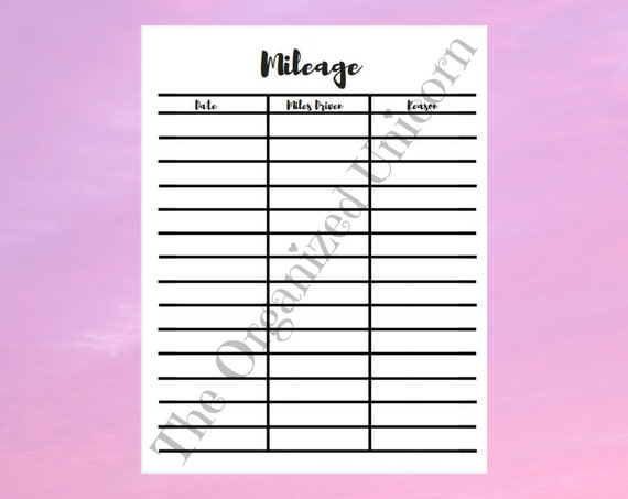 mileage worksheet mileage spreadsheet business mileage etsy