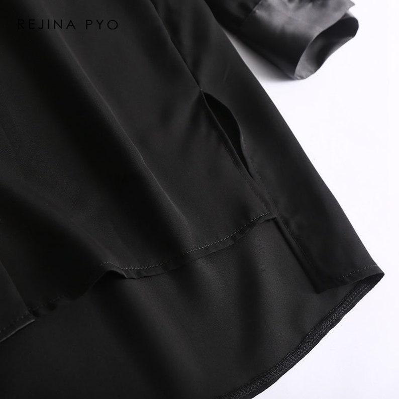 American Style Women Casual Chiffon Patchwork Shirt Long Sleeve Turn-down Collar Women Fashion Side Split Shirt Blouse