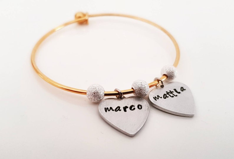 Personalized SilverCopper bracelet with pendants and beads For info and customizations please email me