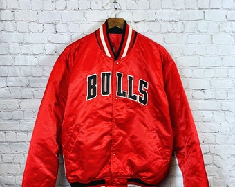 3381445e56d Vintage Starter Chicago Bulls Jacket 90s Black Satin Quilted Snap Sewn  Patch Lettering NBA Men's X-Large