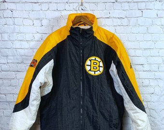 Vintage 90 s NHL Boston Bruins Apex One Large Jacket Wales Conference e29ba8ee3