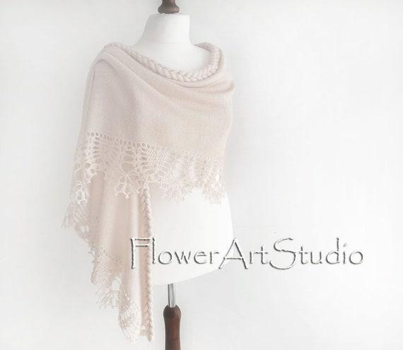 Ivory Shrug Bridal Shawl Wedding Wrap Bridal Cover Up Wedding Bolero Crochet Shawl Light Creme Capelet Bridal Cape Bridesmaid Shawl
