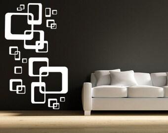 Wandtattoo Ornamente Retro Cubes Wohnzimmer | Etsy