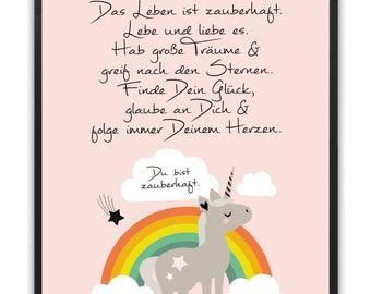 Love You Einhorn Regenbogen Mädchen Baby Größe DIN A5 Wanddeko Bildergalerie Deko Believe In Love myprinti® 3er Set Kinderzimmer Poster Babyzimmer Bilder