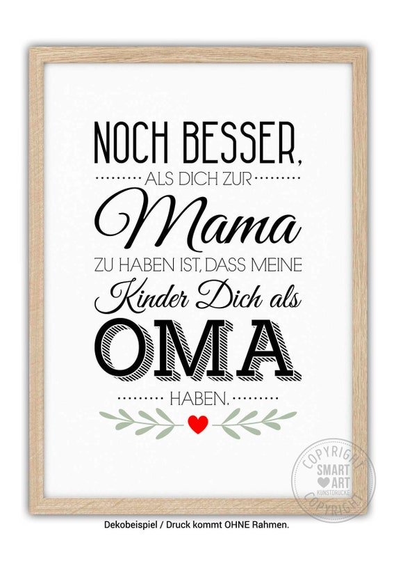 BESTE OMA Kunstdruck Poster Deko Bild Geschenk | Etsy