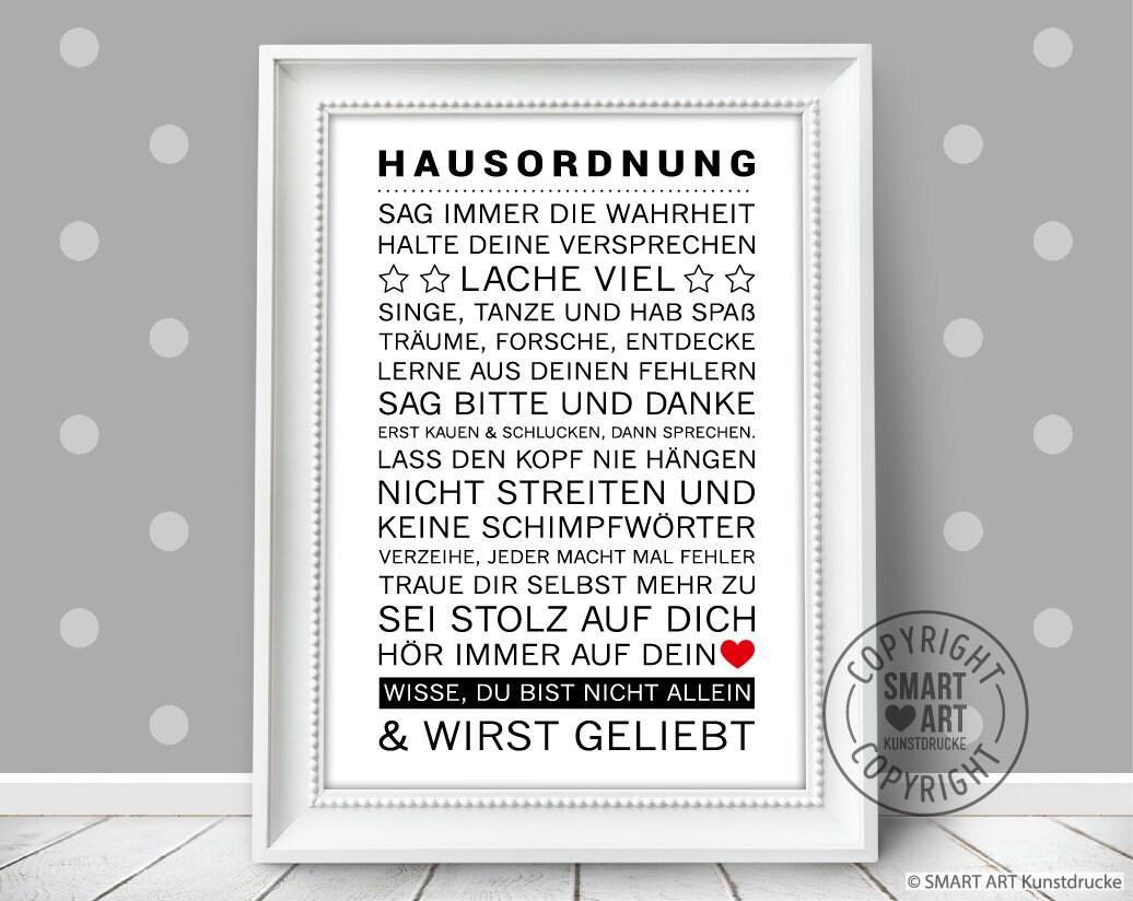 Hausordnung Smart Art Kunstdrucke, Poster für die Familie, Einzugeschenk