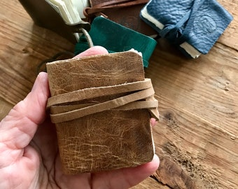 Midi handmade mini leather-bound journal - blank pages ideal for painting, sketching, crafts, poetry or notes