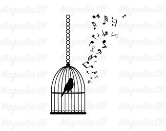 Singing bird in cage | Etsy