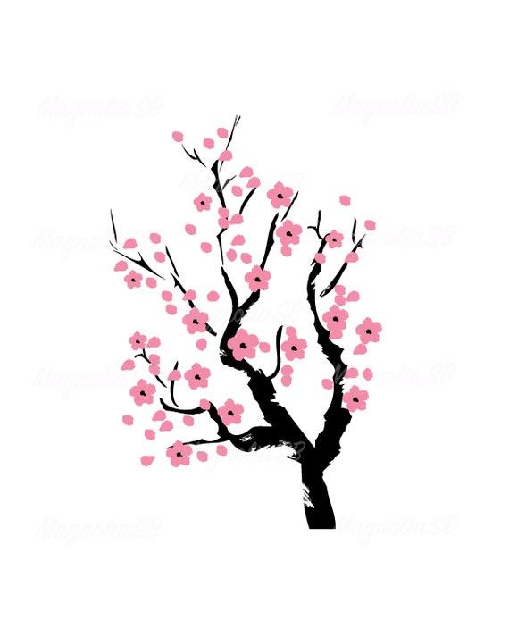 Cherry Blossom Tree Svg Cherry Tree Dxf Clipart Cherry Tree Etsy